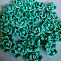 Large green flower beads Polymer Clay
