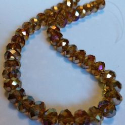 Faceted rondelles beads gold AB