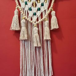 Large Macramé wall hanging, Cream, Tasselled  with wooden beads wall décor nursery, wall art, Large macramé wall tapestry.