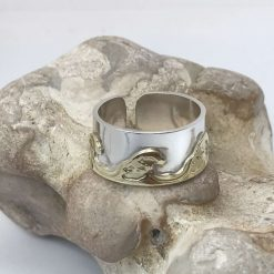 """""""Brass Wave"""" ring in Brass and 925 silver. Size P (adjustable)"""