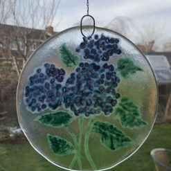 Fused glass floral suncatcher - Hydrangea