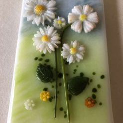 Blue Flowers Fused Glass Picture in Wooden Frame