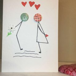 Valentines Button Card - Valentines Day Card - Cute Couple