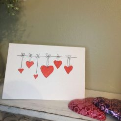 Valentines Card - Valentines Heart Card - Hand Painted Hearts