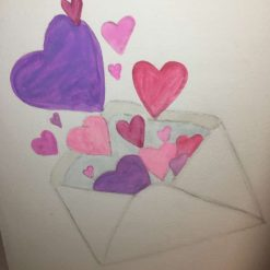 Hand Painted Valentines Card - Heart Valentines Card - Valentines Card