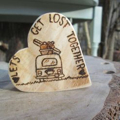 Hand burnt wooden heart- 'Let's get lost together'. Pyrography wood engraving