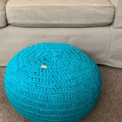 Circular Crocheted Pouffe, Pouf, Handmade Ottoman, Foot Rest, Upcycled, Reduce, T Shirt Yarn, Made to Order