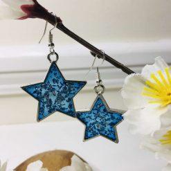 Blue & Silver Star Earrings