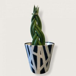 Handmade Clay Black and White Striped Plant Pot