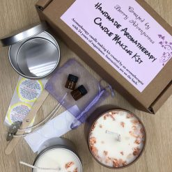 Aromatherapy candle making kit. Soy ,eco friendly kit. 2 Pure Essential oils, petals & Himalayan salt. 1 tin, wax for 2 candles.