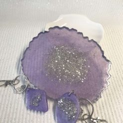 - Handmade Resin Coaster | Lilac and silver colour with crushed glass