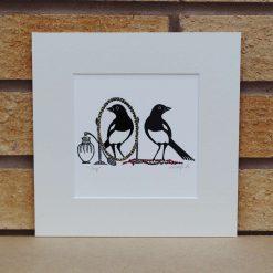 Joy - Magpies - Original Lino Print (magpie) by Sarah's Printing  [sarahs printing]