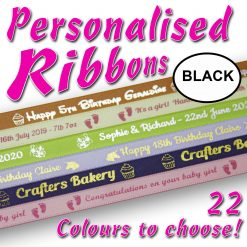10mm - Black Personalised Satin Ribbons - 2 metres