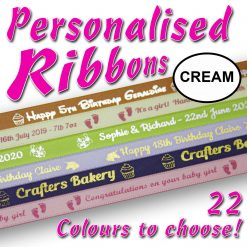 10mm - Cream Personalised Satin Ribbons - 2 metres