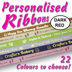 10mm - Dark Red Personalised Satin Ribbons - 2 metres
