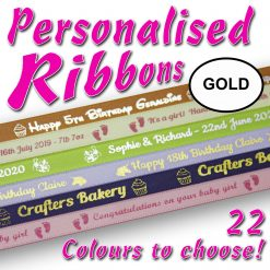 10mm - Gold Personalised Satin Ribbons - 2 metres