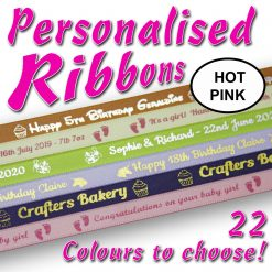 10mm - Hot Pink Personalised Satin Ribbons - 2 metres
