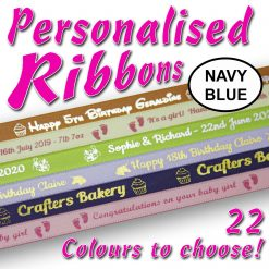 10mm - Navy Blue Personalised Satin Ribbons - 2 metres