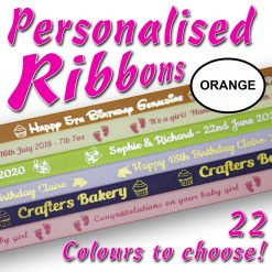 10mm - Orange Personalised Satin Ribbons - 2 metres