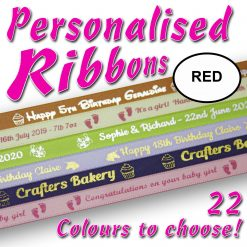 10mm - Red Personalised Satin Ribbons - 2 metres