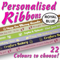 10mm - Royal Blue Personalised Satin Ribbons - 2 metres