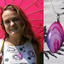 Pink & Purple Crazy Agate Sterling Silver Necklace