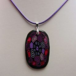 Black with Colourful Swirls Large Oblong Pendant Necklace