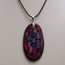 Black with Colourful Swirls Large Oval Pendant Necklace
