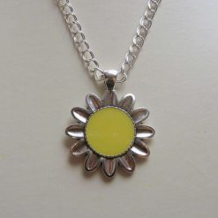 Yellow and Silver Flower Reversible Pendant