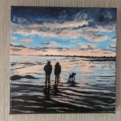 Sunset walk on Leven beach Original Painting