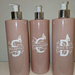 Pink Bathroom Pump Lotion Bottles