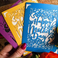 Happy Mother's Day papercut handmade card  - choice of 3 colours - pink, blue and yellow