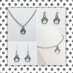 'Animal' Paws Necklace | Dog Cat Paw Print Tibetan Silver Charm Birthday Christmas Mothers Mother's Day Valentine Anniversary Easter Jewellery Gift Ideas | Charming Gifts