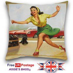 Pinup Girl Bowling Cushion Cover, Vintage Pin up Girl Pillowcase