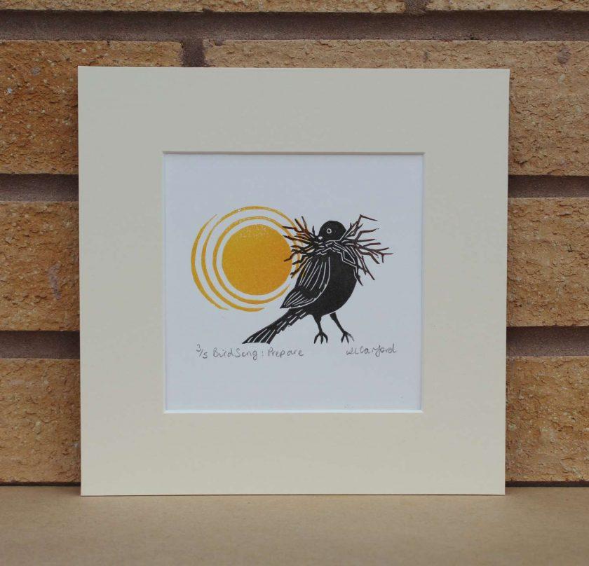Birdsong: Prepare - Garden Birds - Original Lino Print (bird) by Sarah's Printing [sarahs printing]