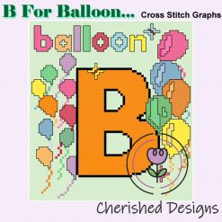 B Is For Balloon Nursery Cross Stitch Chart