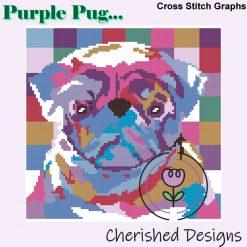 Purple Pug Cross Stitch Chart