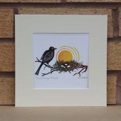 Birdsong: Protect - Garden Birds - Original Lino Print (bird) by Sarah's Printing [sarahs printing]