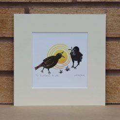 Birdsong: Provide - Garden Birds - Original Lino Print (bird) by Sarah's Printing [sarahs printing]