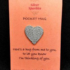 "Silver ""Pocket Hug"" Flower Charm"