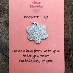 "Silver ""Pocket Hug"" Flower Charm with jump ring"