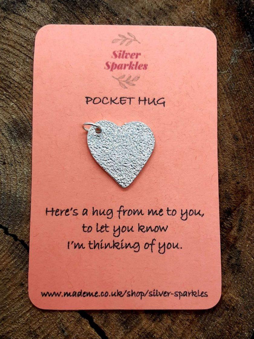 "Silver ""Pocket Hug"" Heart Charm with jump ring"