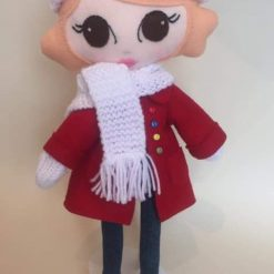 Felt doll with red coat