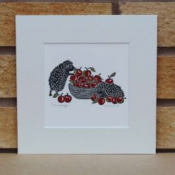 Scrumping - Hedgehogs - Original Lino Print (hedgehog) by Sarah's Printing [sarahs printing]