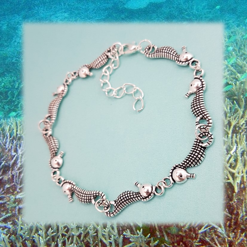 'Ocean' Seahorse Bracelet | Tibetan Silver Charm Birthday Christmas Mothers Mother's Day Valentine Anniversary Easter Jewellery Gift Ideas | Charming Gifts
