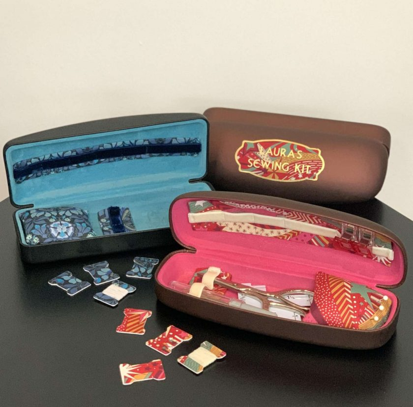 Personalised travel sewing case with Liberty fabric