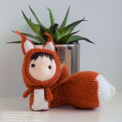 Hand Knitted Doll in Squirrel Costume