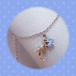 'Bird' Stork Baby Boy Blue Necklace | Tibetan Silver Birthday Christmas Mothers Mother's Day Valentine Anniversary Easter Shower Jewellery Gift Ideas | Charming Gifts