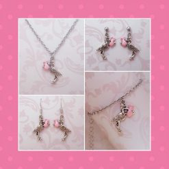 'Bird' Stork Baby Girl Pink Necklace | Tibetan Silver Birthday Christmas Mothers Mother's Day Valentine Anniversary Easter Shower Jewellery Gift Ideas | Charming Gifts