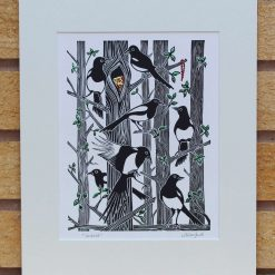 Untold - Magpies - Original Lino Print (magpie) by Sarah's Printing [sarahs printing]